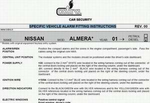 Specific Vehicle Alarm Fitting Instructions: ������� ���������� �� ��������� ������������ �� ���������� 1997 - 2004 ���� �������