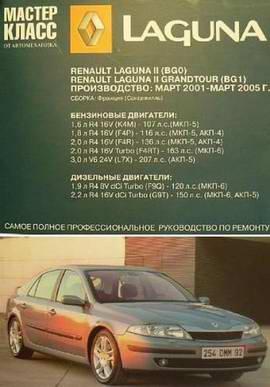 Renault Laguna 2 (BG0) / Grandtour (BG1) (2001 - 2005 год выпуска). Руководство по ремонту.