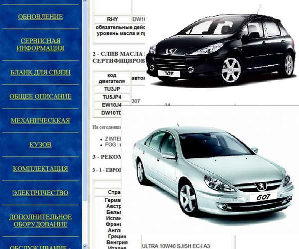 Peugeot 307 / 607: скачать мультимедийное руководство по ремонту, обслуживанию